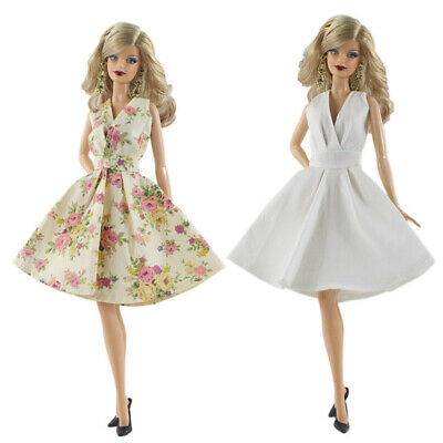 2x Floral Dress Clothes For Doll Gown Shirt Outfit Sundress Accessory
