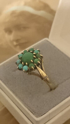 Antique 1900s Edwardian Ladies 9ct Gold Seed Turquoise Ring size 6.5