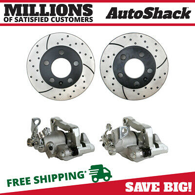 Auto Shack Rear Brake Caliper and Performance Drilled and Slotted Rotor Bundle