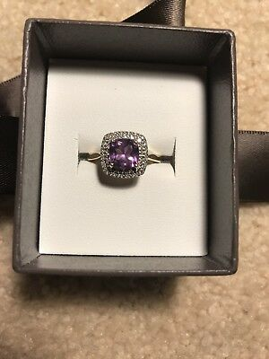 Amethyst Diamond Ring with 10 ct Yellow Gold From Michael Hill