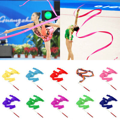 10 X Gym Ribbon Stick Gymnastic Streamer Twirling Rod Rhythmic Ballet Dance UK