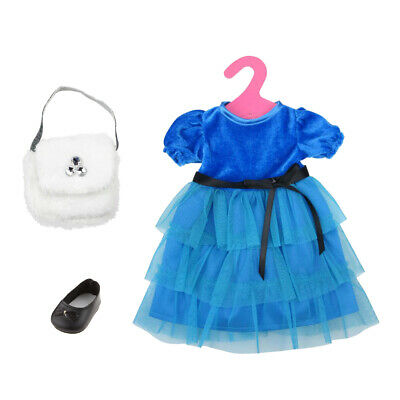 Fashion Dolls Blue Party Dress + Bag + Shoes for 18 inch American Girl Doll