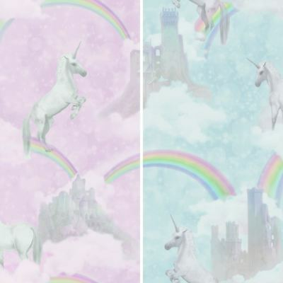 Holden Unicorns Pattern Childrens Wallpaper Glitter Motif Castle Rainbow