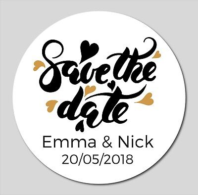18 60mm Personalised Save The Date Stickers - Gold Hearts - Quality Vinyl Labels