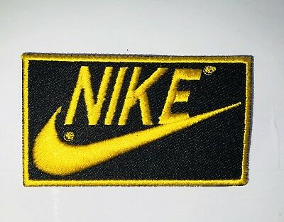 NIKE Golden Outline  Embroidered Badge Iron On/Sew On Clothe Jacket Jeans (AB)