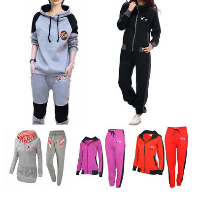 X-2  Womens Fleece Tracksuits Set Ladies Striped Gym Jogging Hooded Top Jog Pant