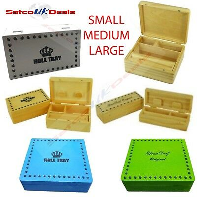 GRASSLEAF Wooden Rolling Cigarette Box Roll Tray Smoking Tobacco Color XMAS GIFT