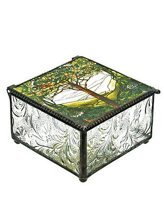 Tiffany Tree of Life Glass Jewelry Trinket Box