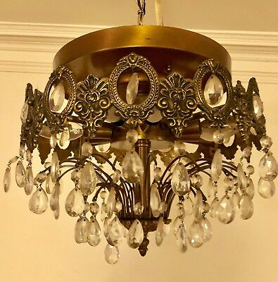 Beautiful Vintage  Brass  Crystal Drops Chandelier