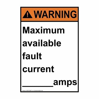Vertical ANSI WARNING Maximum Available Fault Label, 5x3.5 in. Vinyl, 4-Pack