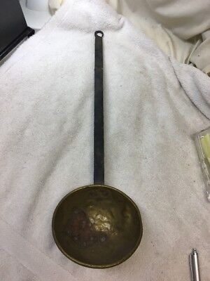 Antique Vintage Hand Forged Brass Water Soup Ladle Dipper Spoon Long Iron Handle