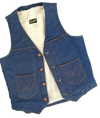 Vintage Wrangler Western Denim Sherpa Vest, Mens M, Medium, Cowboy, Jean, Fleece