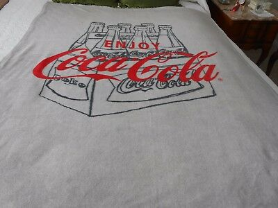 Coca Cola Throw-Blanket 44 & 60 With Six Pack Coke Logo, Very Soft, Grey & Red