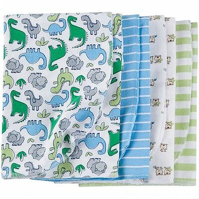Gerber Baby Boys Flannel Receiving Blankets 4 Pack NEW Baby Shower Gift CUTE