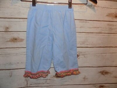 Painting Red Rhinos Girls Pants, size 2T  Pale blue with fringe bottom