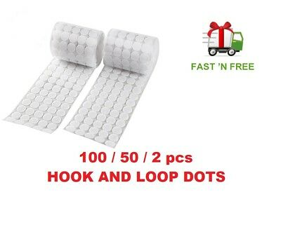 100/50/2 pairs  Hook and Loop Dots Tapes Self Adhesive  White Coins  Stick-On