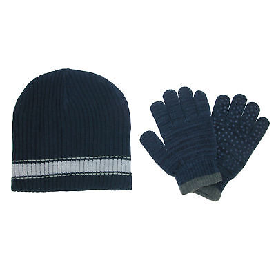 New CTM Boys' and Teens Ribbed Knit Hat and Glove Winter Set
