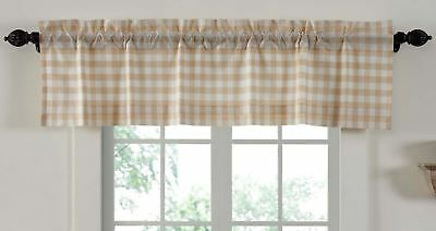 "60"" W Lined Window Valance Country Farmhouse Wheat-Colored Annie Buffalo Check"