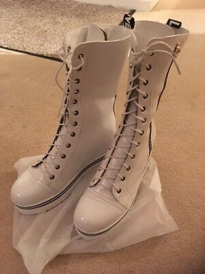 White PVC Lace Up Boots These Are DIFFERENT  Size 38 UK Size 5