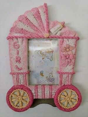 Pre Owned. 2 X 3 Baby Girls Pink/white/yellow Picture Frame