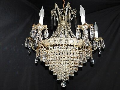 Antique silver gilded brass crystal Empire chandelier 9 lights,original crystals