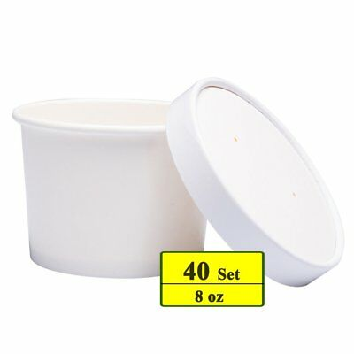 Benail Paper Soup Cups with Paper Lids, Paper Hot/Cold Ice Cream Cups with Lids