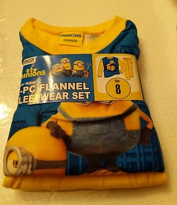 New Boys Minions 2 piece Soft Flannel Pajamas Sleepwear Set Size 8 Despicable Me