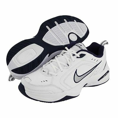 Nike AIR MONARCH IV Mens White Silver Navy 102 Lace Up Running Training Shoes