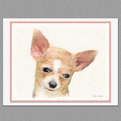 6 Chihuahua Smooth Fawn and White Deer Head Dog Blank Art Note Greeting Cards