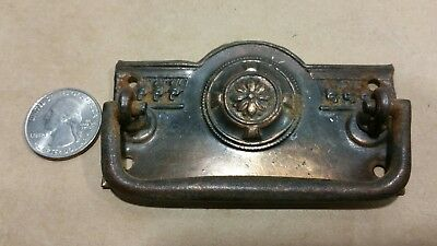 1 Vintage Old cast iron metal drawer pull Victorian Ornate Style pull sash lift