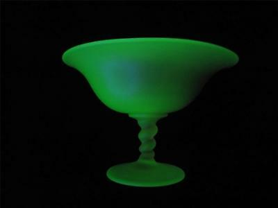 Tiffin Green Glass Tazza Satin Finish Rope Twisted Stem Console Pedestal Candy