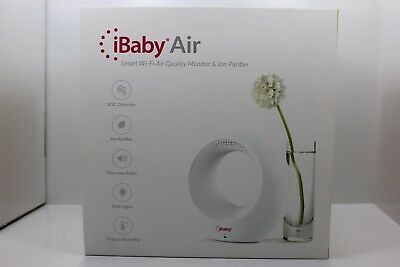 NEW!! iBaby Air Smart Wifi Air Quality Monitor & Ion Purifier - White M1