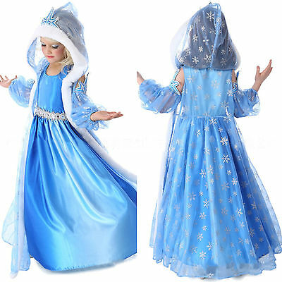 Princess Queen Elsa Cosplay Fur Cape Costume Party Fancy Dress 3-8 Years Outfit