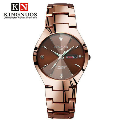 Fashion Casual Mens Women Double Calendar Couple Steel Strap Quartz Lovers Watch