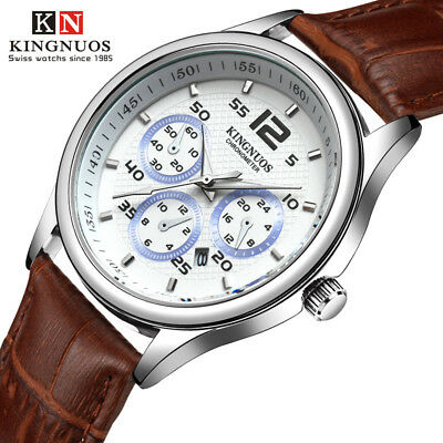 Fashion Brand Business Mens Waterproof Date Casual Leather Strap Quartz Watches