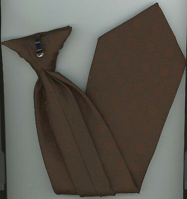 """Boys Neck Tie Clip On Brown 16 3/4"""" L 4"""" W pre-owned (never been cleaned) B-1-7"""