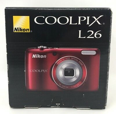 Nikon COOLPIX L26 16.1MP Digital Camera, Red EXC LN COND / FREE USA SHIPPING