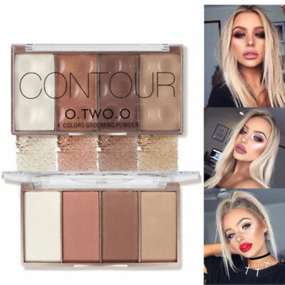 4 Colors Beauty Makeup Powder Cosmetic Contour Blush Bronzer Highlighter Palette
