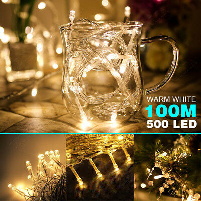 100M 500LED Warm White Fairy String Lights Garden Wedding Christmas Party OZ