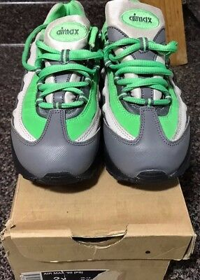 USED (Lightly) Boys Nike Air Max Sneakers (Youth)-Lime Green/Heather Gray/White