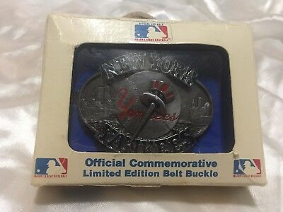 Vintage New York Yankees MLB Baseball Numbered Siskiou CO Belt Buckle w/ Box