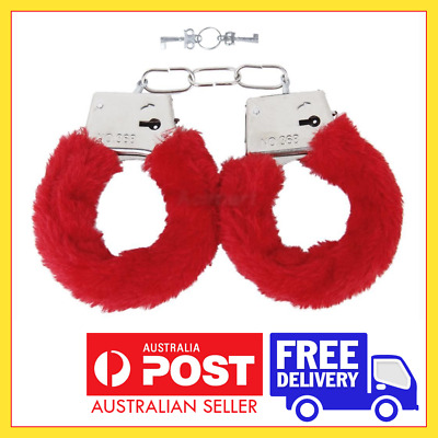 Red Fluffy Faux Fur Handcuffs - Adult Hens Night Bachellorette Party Hand Cuff