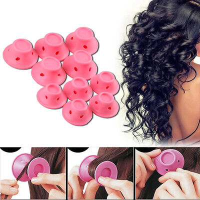 10PCS DIY Silicone Hair Curler Magic Hair Care Rollers No Heat Hair Styling Tool