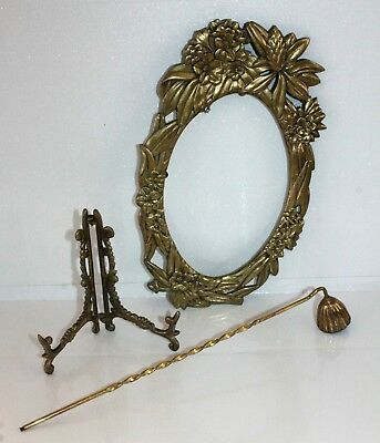 Lot Of Vintage Brass Decor- Floral Frame Picture Stand & Candle Snuffer
