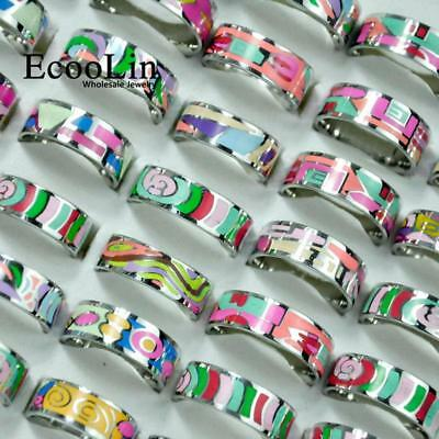 30pcs Stainless Steel Rings Multicolor New For Women Wholesale Jewelry Free Post