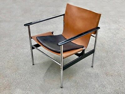 Mid Century Modern Charles Pollock for Florence Knoll 657 Sling Office Arm Chair