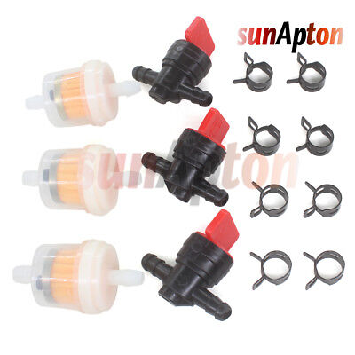 "1/4"" InLine Straight Fuel Filter Gas Cut-Off / Shut-Off Valve Petcock Motorcycle"