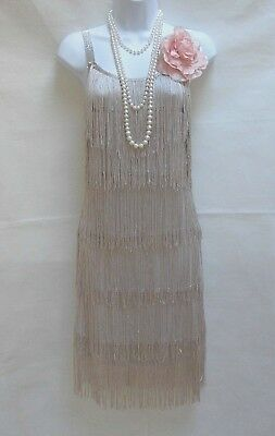 1920's Style Gatsby Vintage Charleston Tassel Flapper Dress Sizes 10 12 14 16
