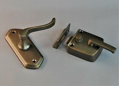 FLY SCREEN DOOR LATCH-SIX finishes-locking solid brass-VINTAGE-lock gauze-insect