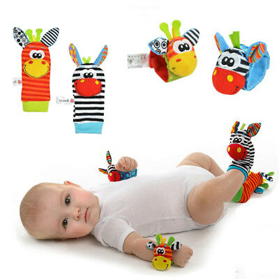 Baby Rattles  Sensory Soft  Plush Hand Bells Wrist Strap Animal Socks Toys
